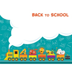 Train with Education Characters Back to School vector image vector image