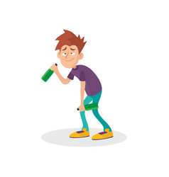 young drunk guy with bottles in hands people vector image