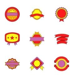 Badge icons set cartoon style vector image