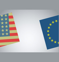 Flags of america and europe vector