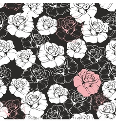 Seamless dark floral pattern with white roses vector image vector image
