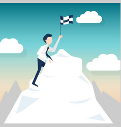 a man climbs for chasing the flag vector image vector image