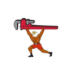Bald Eagle Plumber Monkey Wrench Isolated Cartoon vector image vector image
