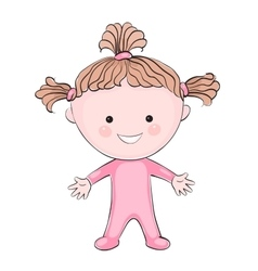 Cartoon little girl on white background vector image vector image