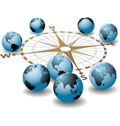 Compass points earth global directions vector image