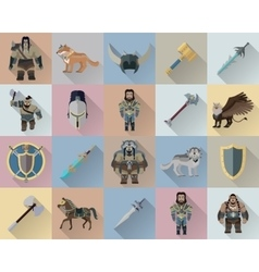 Game set of fantasy warriors vector