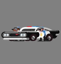 police officers embattled near car vector image vector image