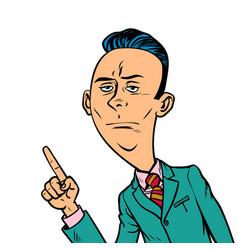 calm neutral businessman points finger gesture vector image