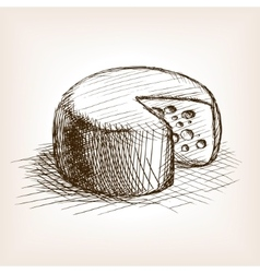 Cheese hand drawn sketch style vector image vector image