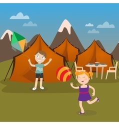 Children Summer Camp Boy Launches Kite vector image