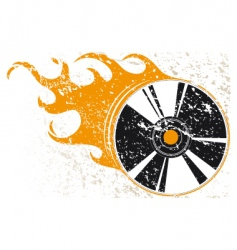 grunge compact disk with flames vector image vector image