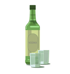 vodka bottle and glasses isolated alcohol vector image