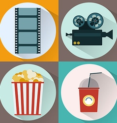 Watching Movie icon set vector image vector image
