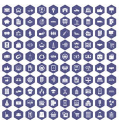 100 business icons hexagon purple vector