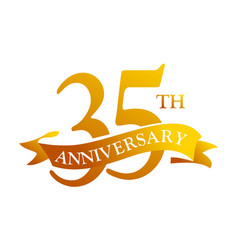 35 year ribbon anniversary vector