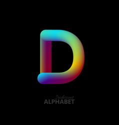 3d iridescent gradient letter d vector