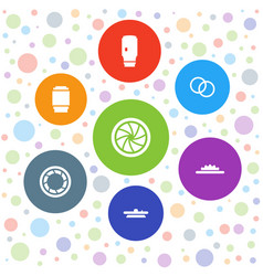 7 aperture icons vector
