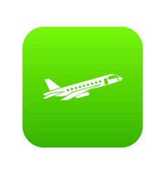 Airplane taking off icon digital green vector