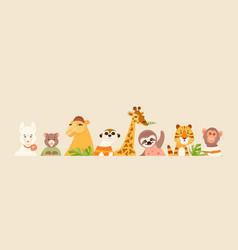 Animal portraits banner vector