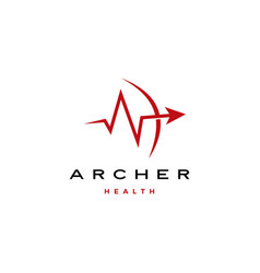Archer arrow heart beat health logo icon vector