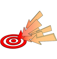 Arrows point at hot target drawing vector