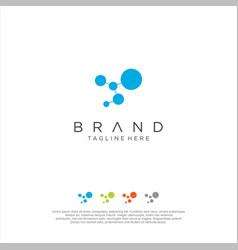 atom dna molecule tech logo digital technology vector image