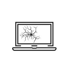 black thin line broken cracked laptop vector image