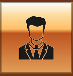 Black user of man in business suit icon isolated vector