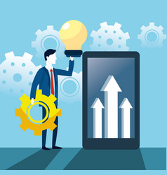 businessman with bulb idea and smartphone with vector image