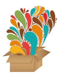 Cardboard box with abstract colorful arc-drop vector