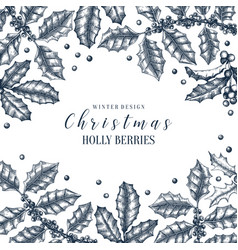christmas holly design greeting card or vector image
