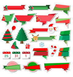 christmas stickers icons with paper ribbon vector image