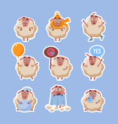 collection sheep stickers funny farm fluffy vector image