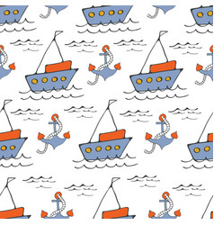 Colorful seamless sea pattern with boatsand vector