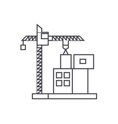 construction crane building thin line icon concept vector image