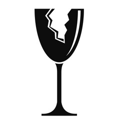Cracked wine glass icon simple style vector