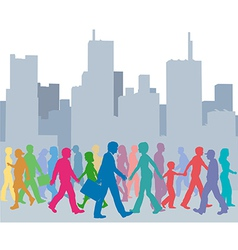 Crowd of people colors walk city vector