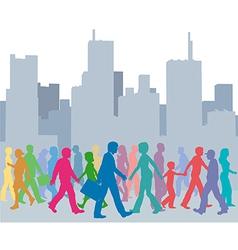 Crowd of people colors walk city vector