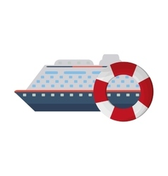 cruise ship and life preserver icon vector image