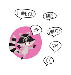 cute happy raccoon character with word yay in vector image