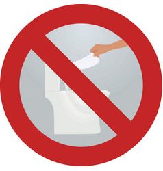 Do not throw paper to toilette sign vector