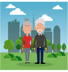 Elderly couple park city background vector