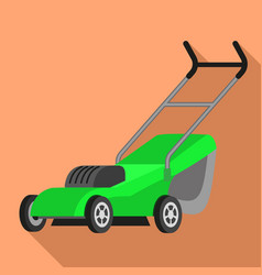 Electric lawnmower icon flat style vector