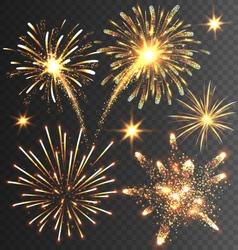 Festive Golden Firework Salute Burst on Black vector image