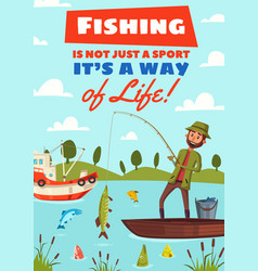 Fishing hobby sport cartoon poster vector