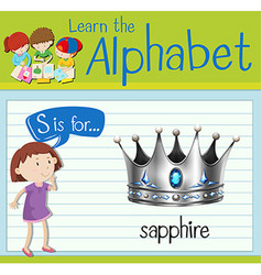 Flashcard letter S is for sapphire vector