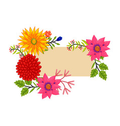 Frame flowers colors blank flourish template vector