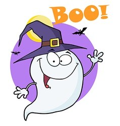 Ghost Flying In Night And Text Boo vector