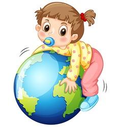 Girl todler hugging the earth vector image