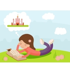 Girl young happy smiling reading book lying on vector